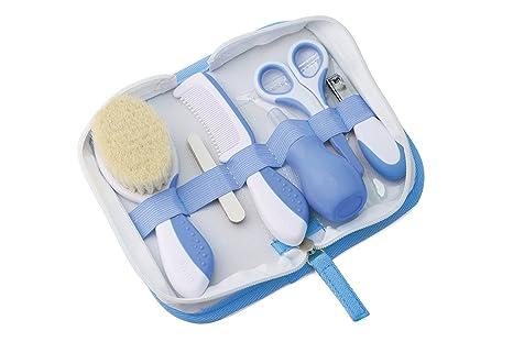 Nuvita 1136 - Set Para el Cuidado del Bebé en Estuche para Uñas y Cabello y con Aspirador Nasal, color Azul