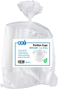 EDI Clear Plastic Disposable Portion Cups with Lids, 4 Ounce (50 Count)