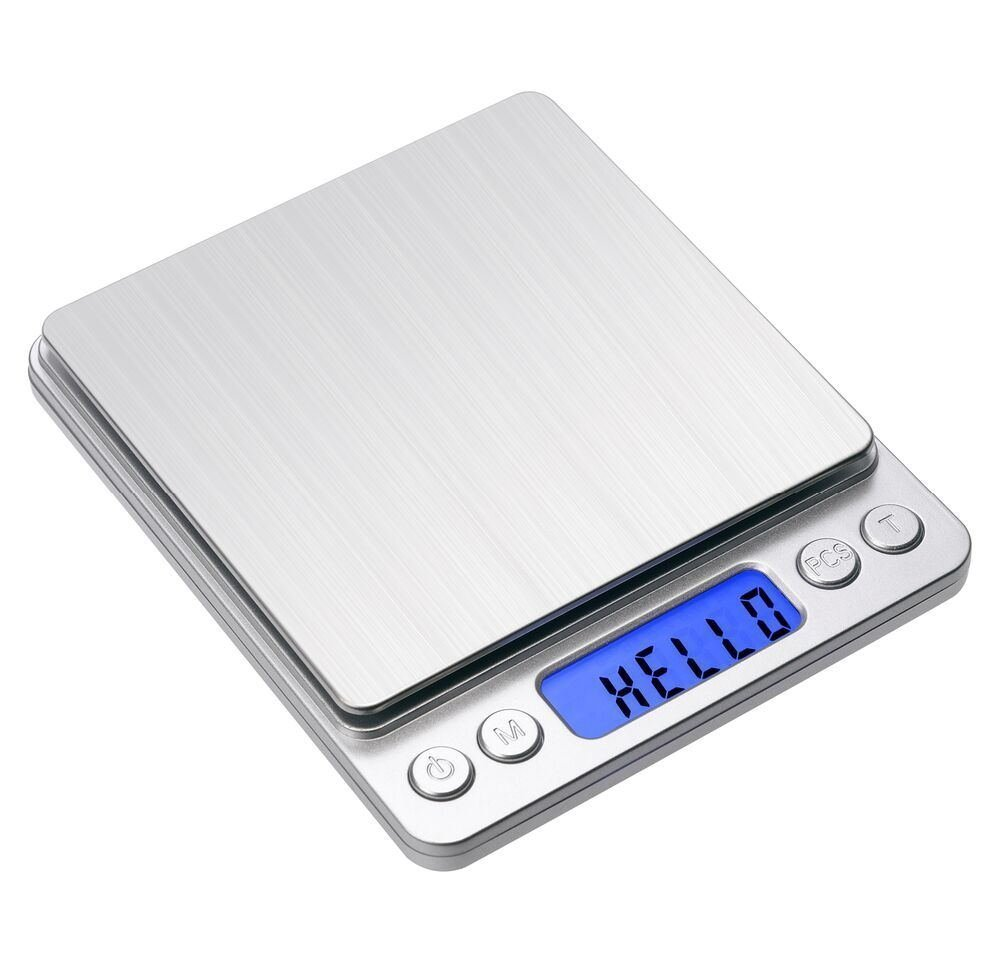 Digital Kitchen Scale,Digital Pro Pocket Scale Food Weight Measuring Gram Scales with Stainless Steel Platform Back-Lit LCD Display, Tare, Hold and PCS Features 3000 x 0.01g (2 batteries Included)