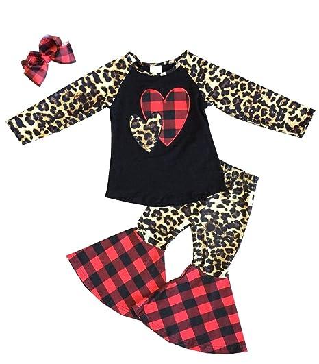 Valentine/'s Day Kid Baby Girl Top T-shirt Ruffle Plaid Leggings Pants Clothing