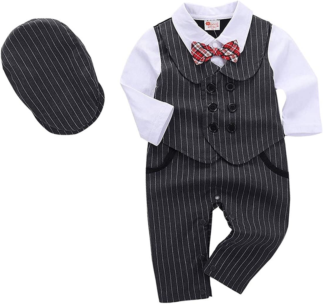 MetCuento Baby Boys Gentleman Formal Outfit Suits Bow Ties Shirts Vest Pants Toddler Wedding Clothes Sets