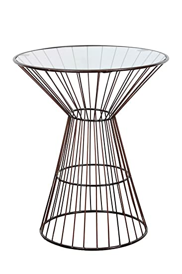 Amazon.com: Wire Frame Tall Side Table with Glass Top: Kitchen & Dining