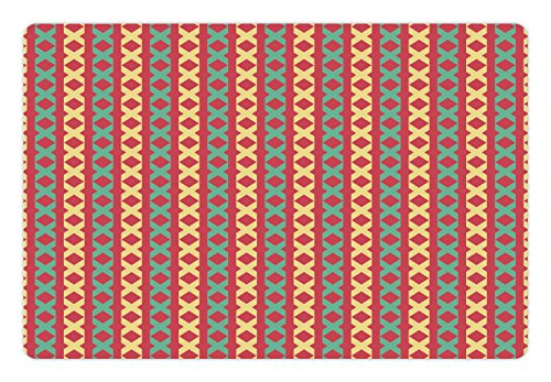 Retro Pet Mats for Food and Water by Lunarable, Retro Style Geometric Motifs Repeating Vertical Borders Tile Pattern, Rectangle Non-Slip Rubber Mat for Dogs and Cats, Dark Coral Mint Yellow Repeating Border