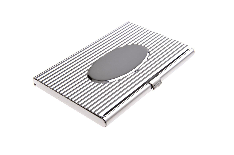 Un porte-cartes de visite fait en acier inoxydable de haute qualité, avec dessin style années 20, des rainures imprimées et un ovale poli, Mod. 318 (DE)