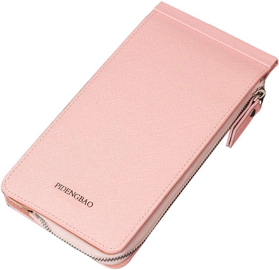 Genfien RFID Wallet for Women Men PU Leather Blocking Tech 26 Card Case Money Organizer Phone Zipper Pocket