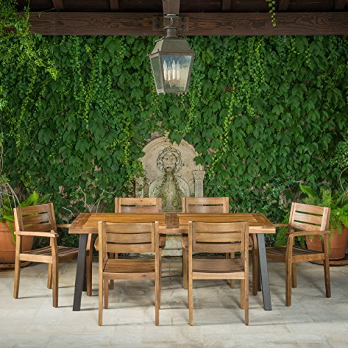 Avalon 7 Piece Acacia Wood Dining Set With Rustic Metal