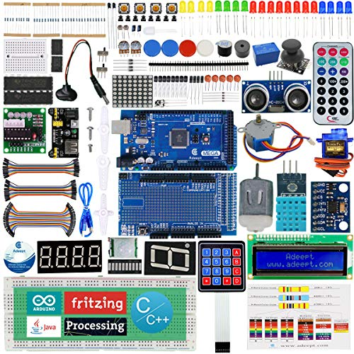 Adeept Ultimate Starter Kit for Arduino Mega2560 LCD1602, Stepper motor, ADXL345, Learning Kit with PDF Guidebook ()