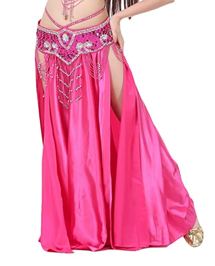 Insun Danza del Vientre Satén Faldas Largas Vestidos de Mujer Rosa ...