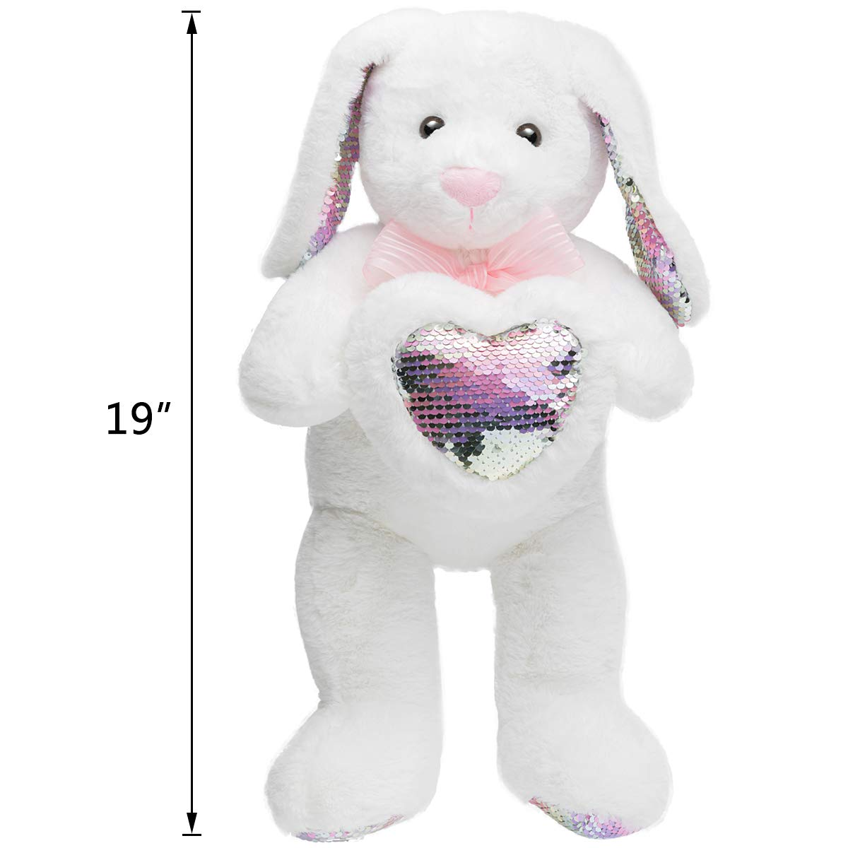 HollyHOME Sequins Bunny Eater Stuffed Animal Long Eard Plush Rabbit Holding Reversible Sequins Heart Pillow 19 Inches White