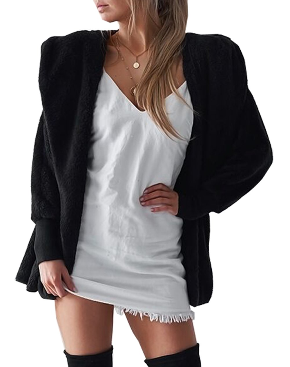 BTFBM Women Casual Long Sleeve Cardigan Warm Hooded Jacket Winter Coat Outwear (Black, Medium)