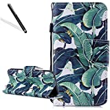Flip Case for Huawei Honor 9 Lite,Wallet Cover for Huawei Honor 9 Lite,Leecase Cool Creative Strap Green Banana Leaves Design Bookstyle Wrist Strap Magnetic Card Slots Pu Leather Soft Inner Stand Function Protective Folding Wallet Case Cover for Huawei Honor 9 Lite + 1 x Free Black Stylus-Green Banana Leaves