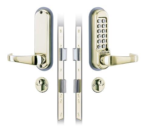 Codelocks 0525 PB - Picaporte para puerta con cerradura de seguridad por código numérico digital (