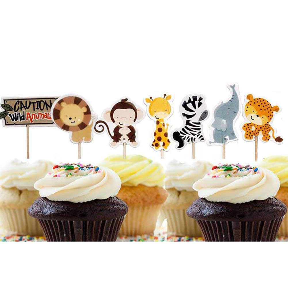 Momangel 24PCS Cartoon Animal Cupcake Toppers Kids Baby Birthday Party Decor Cake Stick Party Supplies Random Color