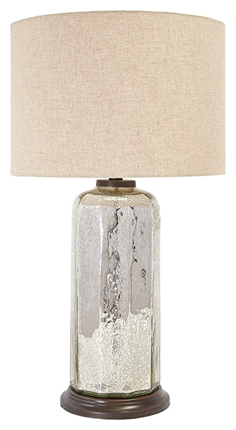 Ashley Furniture Signature Design   Sharlie Glass Table Lamp   Crackled  Finish   Silver Finish