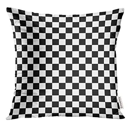 Amazoncom Golee Throw Pillow Cover Race Checker Black And White