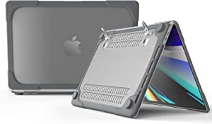 MacBook Pro 16 inch Case with Kickstand, DMaos Crystal Shell Armor Bumper Sleeve Reinforced Corner Shock Absorption Antiskid Ventilation, Premium for Mac 2019 Model A2141 - Gray