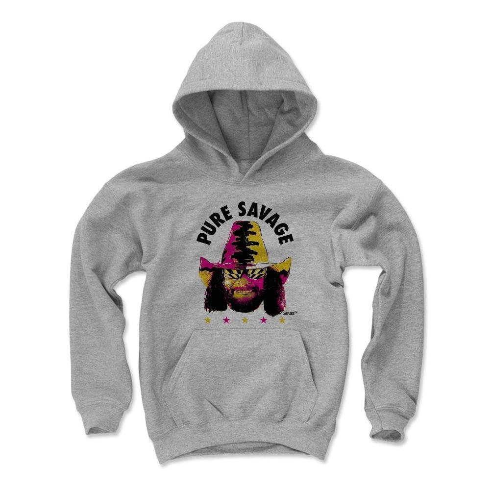 500 Level Macho Man Randy Savage Kids Youth Hoodie M Gray - Macho Man Pure K - Officially Licensed by Pro Wrestling Tees