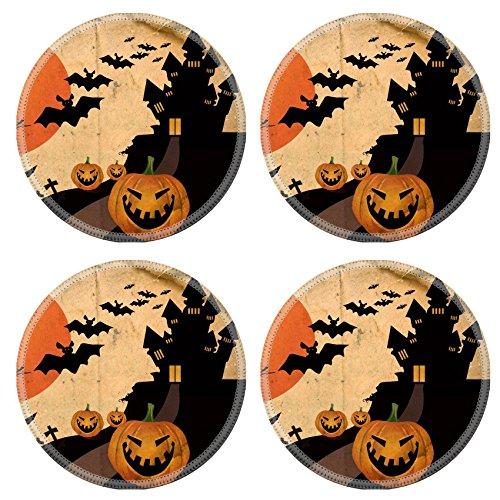 Liili Round Coasters Non-Slip Natural Rubber Desk Pads Grunge halloween background Photo 5948931 -
