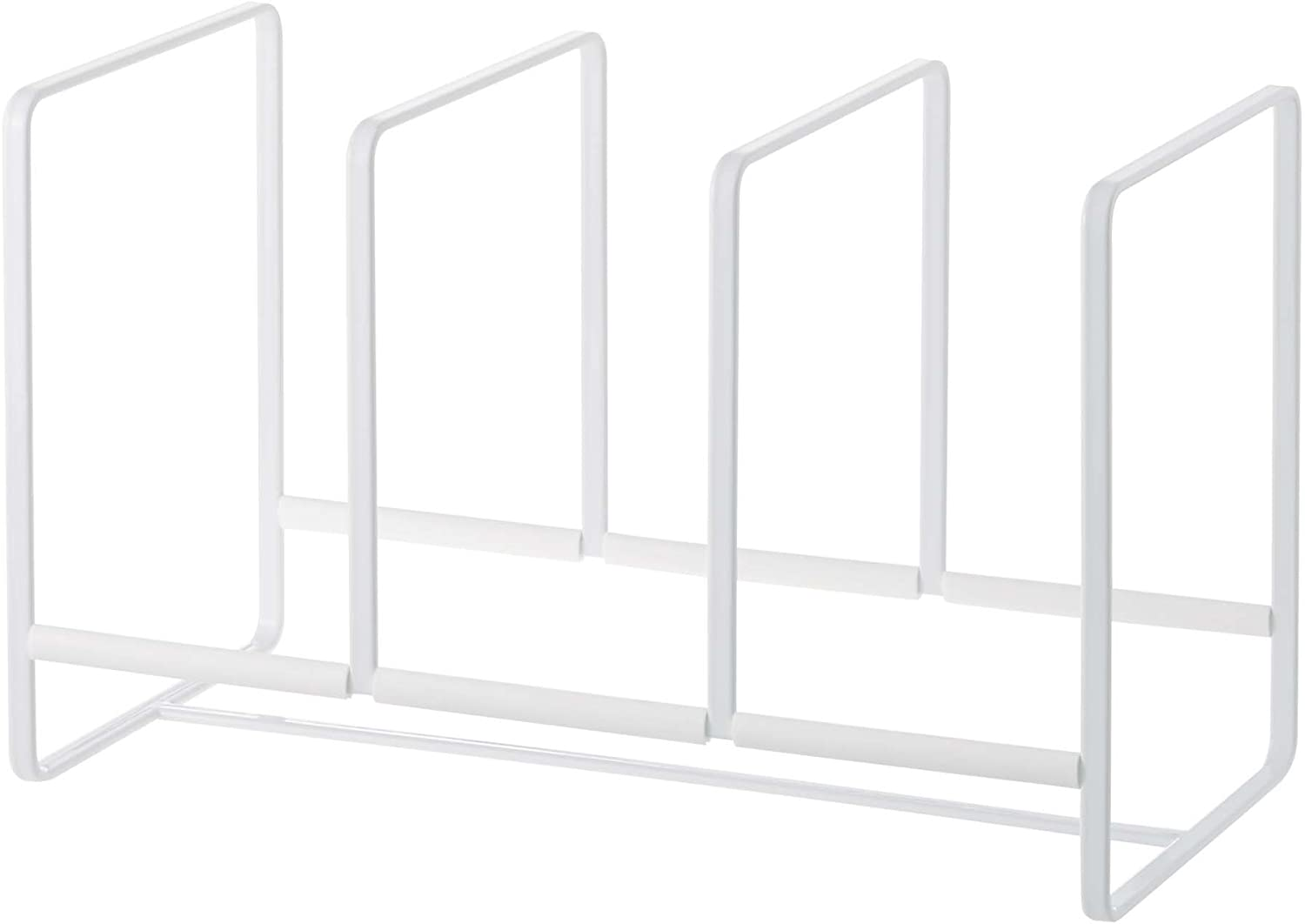 YAMAZAKI home 2964 Tower Dish Organizer-Storage Rack Wide for Kitchen Cabinets, White, Large