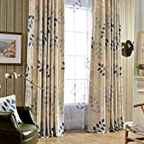 Cheap Leyden TM Grommet Top Spring Leaves Print Window/Door Curtain Panels, 50-Inch by 96-Inch, Blue(1 Panel) Custom Size