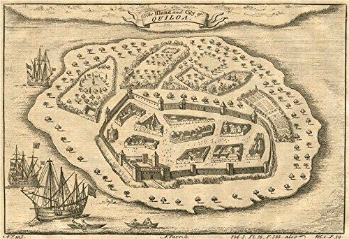 Tanzania. 'The Island and City of Quiloa'. Kilwa Kisiwani. Parr - 1746 - old