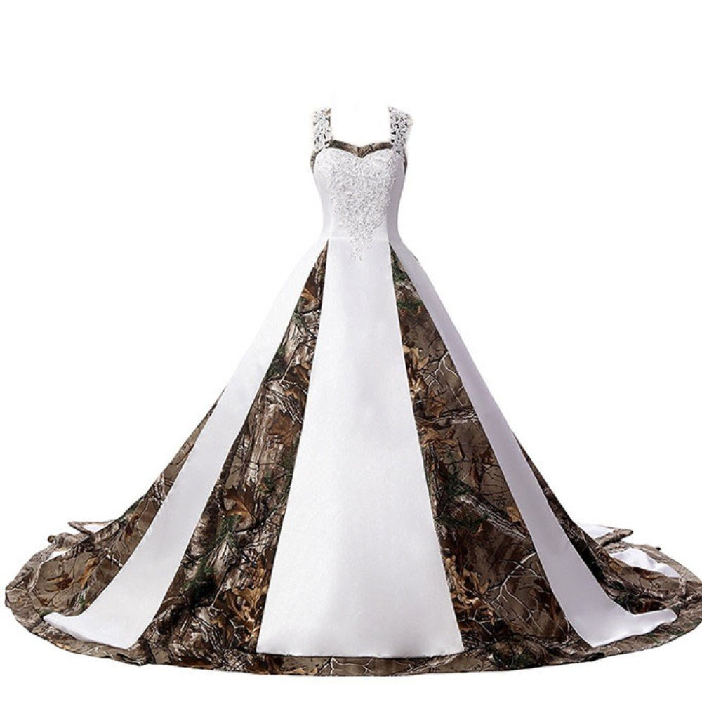 ZVOCY Womens Camouflage Wedding Dresses for Bride Satin Camo Long Formal Gown for Wedding White ZVOCY38