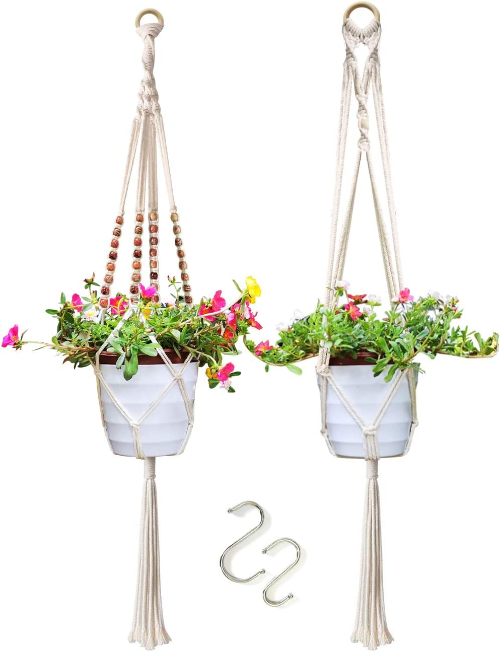 Plant Hangers – 2 Hanging Planters for Indoor Plants, Outdoor Plant Hangers, Handmade Cotton Hanging Pots for Plants 41 L with Beads, Perfect Wall Hanging Planter for Home, Garden, Office Decor