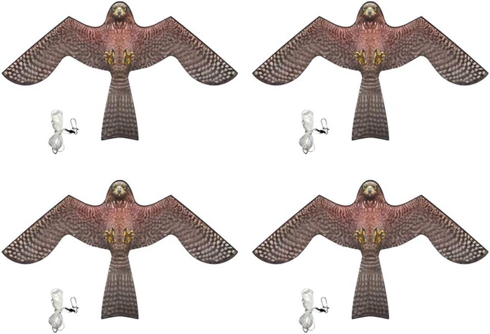 B Blesiya Pájaro Cometa Espantapájaros de Profesional Ahuyentador Flying Hawk Kite Kit para Jardín de Casa de Yarda - 4 Piezas