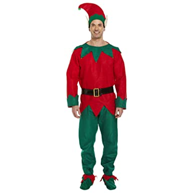 Christmas Elf Costume.Adult Mens Elf Costume Fancy Dress Christmas Xmas Outfit Santa Claus Helper Suit Elf One Size Fits Most