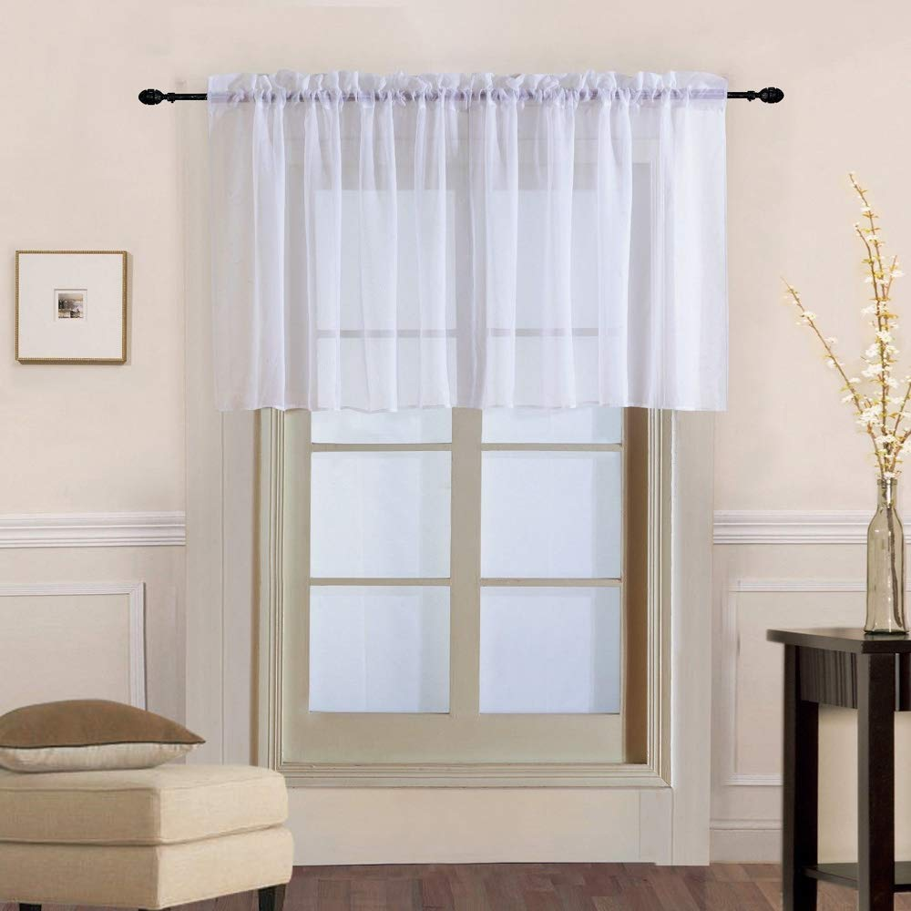 WINYY White Sheer Curtain for Kitchen Window Short Tier Curtain Valance for Doorway Solid Color Short Curtain Yarn Rod Pocket Top Voile Living Room Drape 1 Panel (39'' W x 20'' L)
