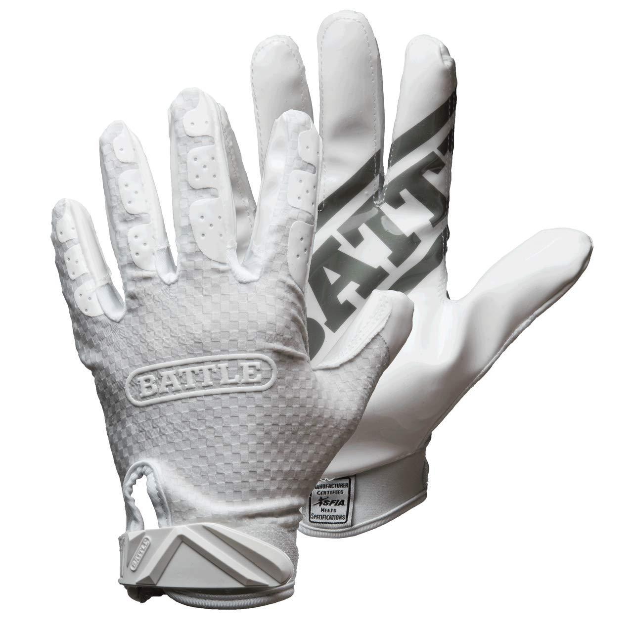 Battle Triple Threat Adult Receiver Gloves - Size Triple Threat Adult Receiver Gloves, White, Small
