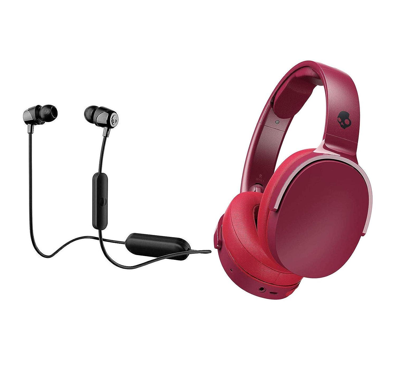 Skullcandy HESH 3 Noise Canceling Over-Ear Wireless Bluetooth Headphone Bundle with Skullcandy Jib Bluetooth Wireless in Ear Earbuds – Moab Red Black, Black