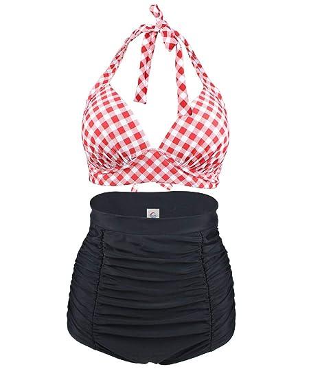beste Wahl Geschäft kostengünstig Viloree Retro 50s Damen Bademode Bikini Set Push Up Hoher Taille Bikinihose  Bauchweg