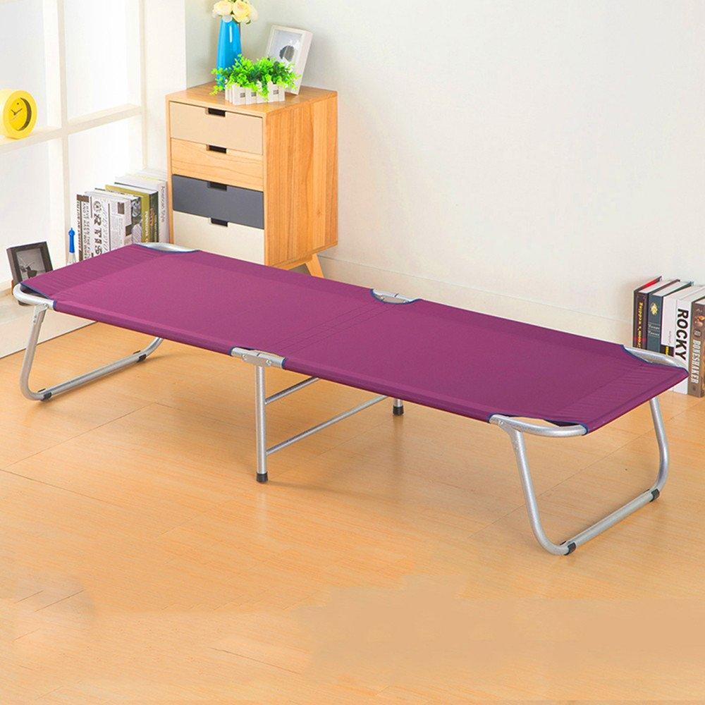 Zheng Folding Bed Single Outdoor Office Siesta Nap生徒のベッドスチールベッド B074FY4GWP Purple 1.82M x 34.5cm * 63cm Purple 1.82M x 34.5cm * 63cm