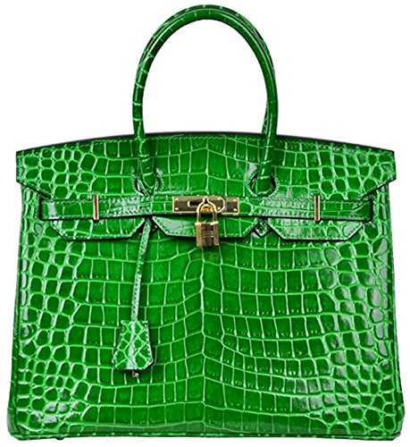 Bag Padlock Women Handbags Top Green Leather Crocodile Handle qCZzdC