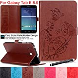 Galaxy Tab E 8.0 Case, NewshineButterfly & Flower PU Leather Flip Kickstand / Wallet Case [Magnetic Closure] [Card Slots] Case Cover for Samsung Galaxy Tab E 8.0 T377/T375 (4 Brown)