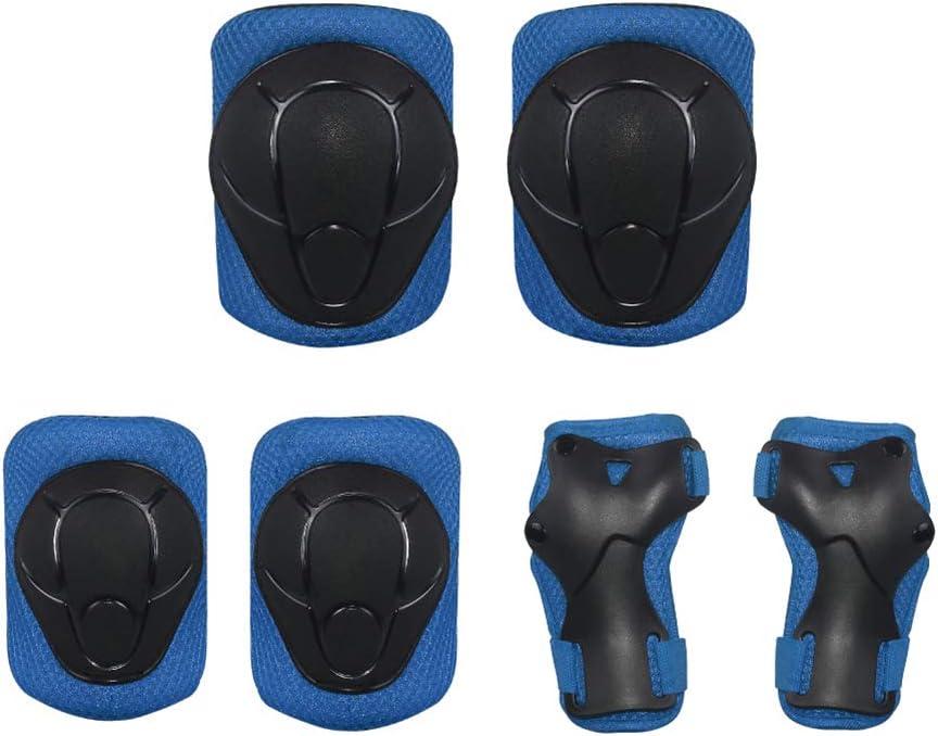 LIOOBO 6pcs Childrens Skating Protective Gear Sports Protective Gear Knee Protector Elbow Pads Wrist Brace for Scooter Roller Skating black