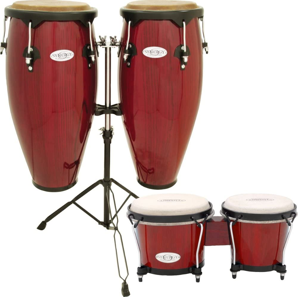 Toca Synergy Conga Set with Stand and Bongos Red