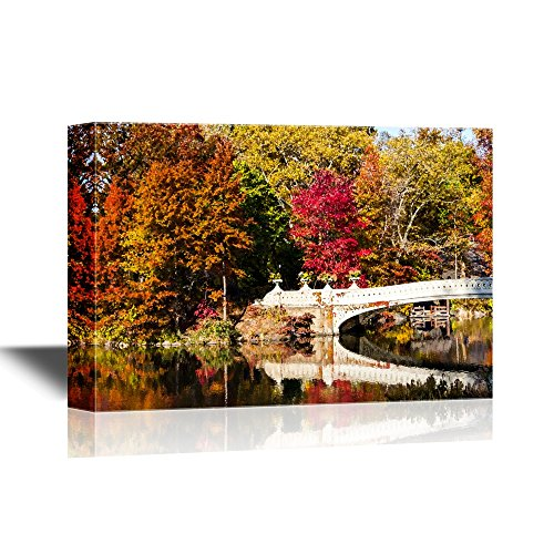 wall26 - Bridge Canvas Wall Art - Central Park Bow Bridge in Fall - New York City - Gallery Wrap Modern Home Decor | Ready to Hang - 24x36 inches -