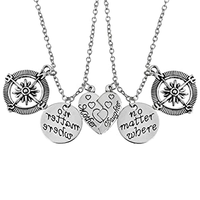 Amosfun 1 Pair no Matter Where Letters Compass Pendant Necklaces Matching Heart Clavicle Chain Gifts for Mother Daughter: Toys & Games