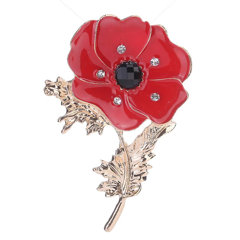 KUHRLRX Broche Florale Fleur Rouge Strass Broche Collier Délicat Pin Badge pour Costume Manteau Accessoires Vintage Soirée Bijoux