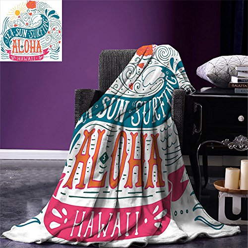 smallbeefly Hawaiian Digital Printing Blanket Sea Sun Surfing Typography with Ocean Waves Aloha Tropical Print Summer Quilt Comforter Petrol Blue Orange Pink -