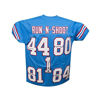 Image Unavailable. Image not available for. Color  Houston Oilers  Autographed Run-N-Shoot Custom Blue Football Jersey - JSA LOA af2cbe29d