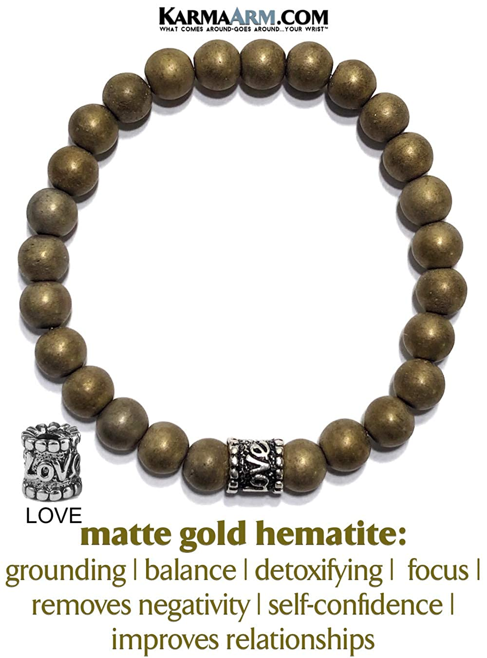 Love Bead Boho Zen Self-Care Meditation Wellness Jewelry KarmaArm Anxiety Bracelet Yoga Chakra Reiki Healing Energy Bracelet Affair of The Heart : Matte Gold Hematite