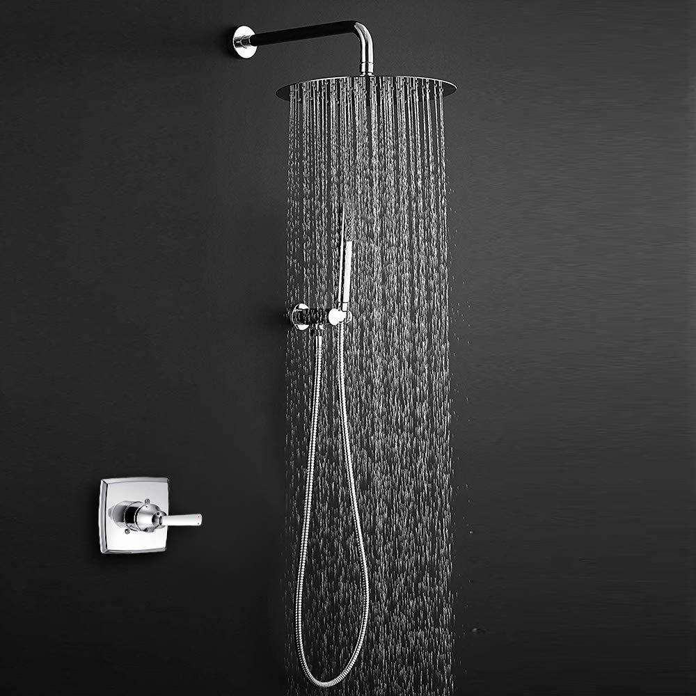 NearMoon Square Rain Shower Heads High Pressure Large Stainless Steel Rainfall ShowerHead with Shower Arm Waterfall Full Body Coverage Easy to Install 12 Inch Shower Head with 15 Inch Extension Arm