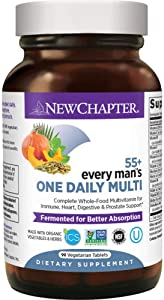 New Chapter Multivitamin for Men 50 Plus - Every Man's One Daily 55+ with Fermented Probiotics + Whole Foods + Astaxanthin + Organic Non-GMO Ingredients - 90 ct