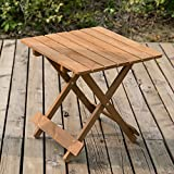 Leisure Zone  Wooden Coffee Table Side Table - Folding Garden & Patio Coffee & Snack Table (50cm)