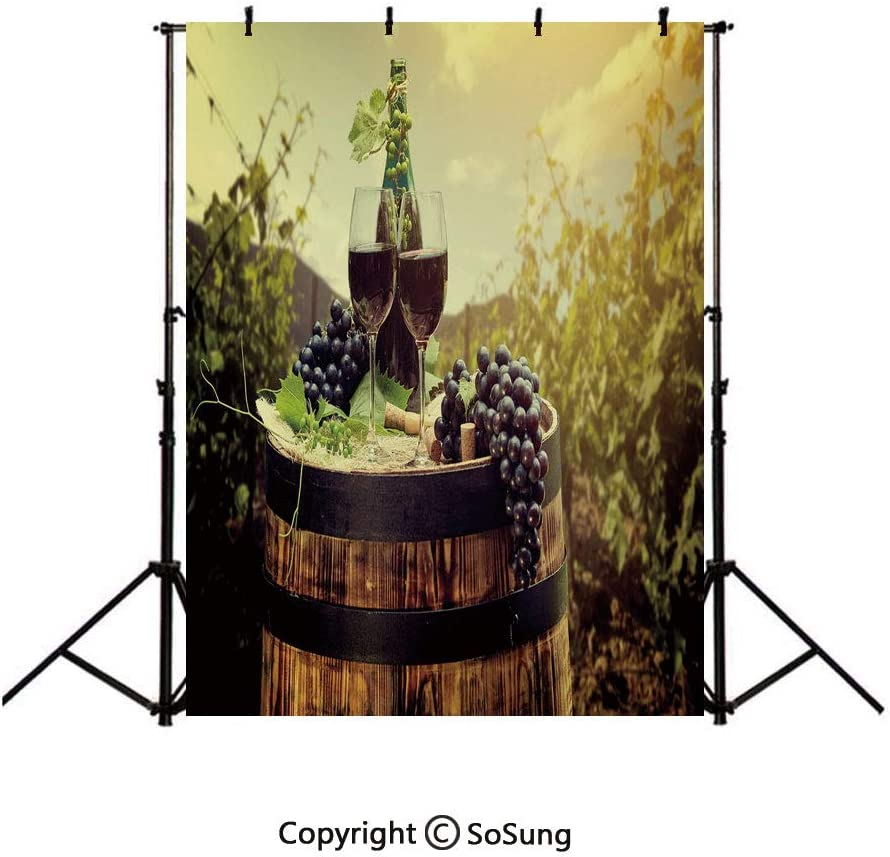 9x16Ft Vinyl Wine Backdrop for Photography,Scenic Tuscany Landscape with Barrel Couple of Glasses and Ripe Grapes Growth Decorative Background Newborn Baby Photoshoot Portrait Studio Props Birthday Pa