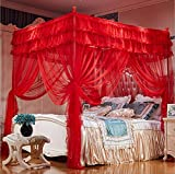 King Size Four Poster Bed Nattey 4 Corner Poster Princess Bedding Curtain Canopy Mosquito Netting Canopies California King Size (California King, Red)