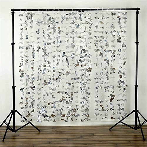 BalsaCircle 6 feet x 6 feet Silver Flower Garland Backdrop Drapes Curtains - Wedding Ceremony Event Party Photo Booth Home Windows (Diy Flower Backdrop)